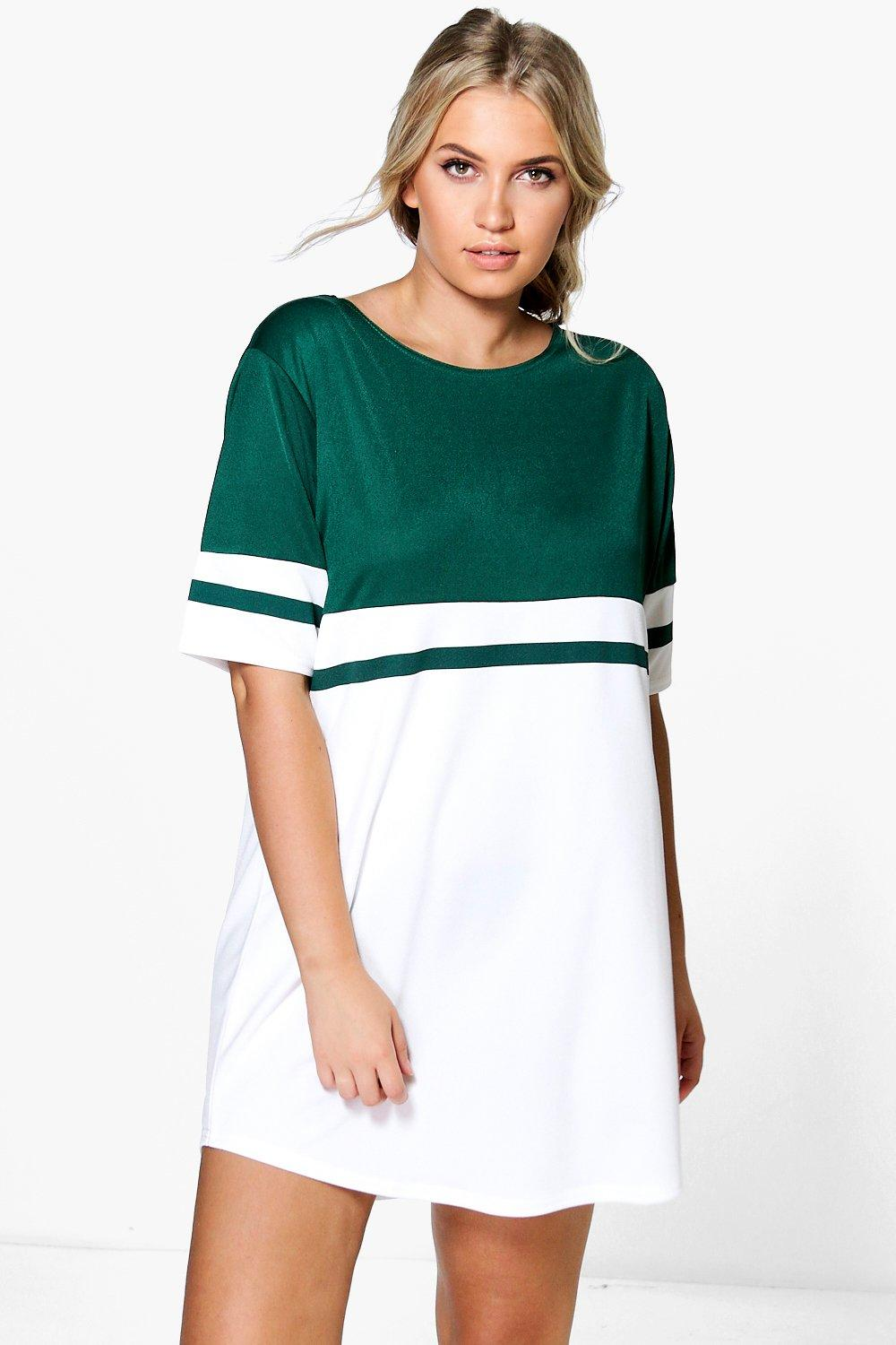 Plus Cia Colour Block Curved Hem Shift Dress