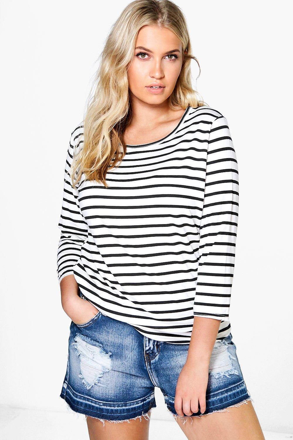 Plus Laura 3/4 Sleeve Stripe Tee