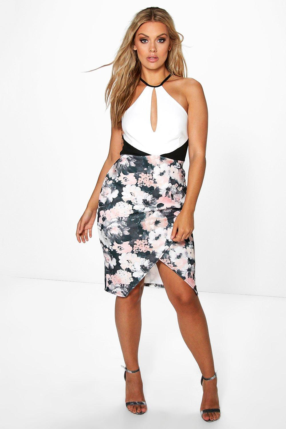 Plus Wendy Wrap Front Floral Midi Dress