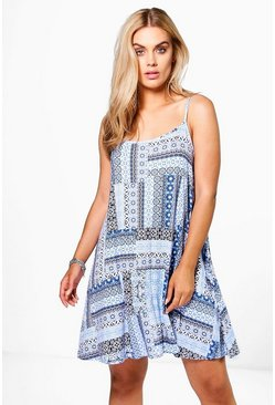 Plus Eva Tile Print Swing Dress