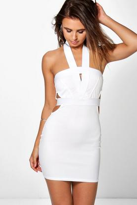 Petite Ana Mesh Bodycon Halterneck Dress