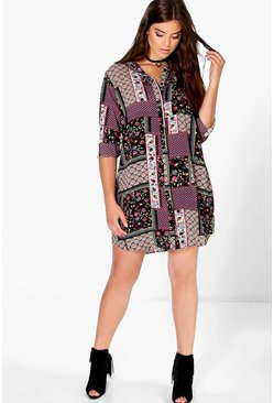Plus Tina Woven Printed Shirt Dress