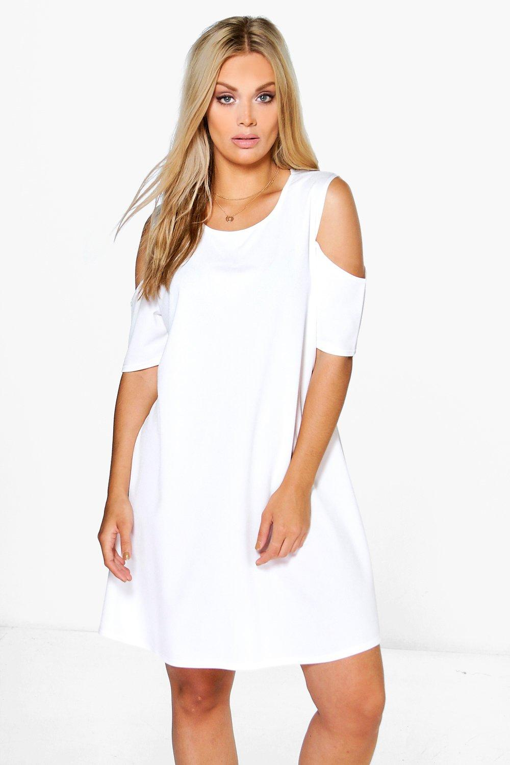 Plus Emma Open Shoulder Shift Dress