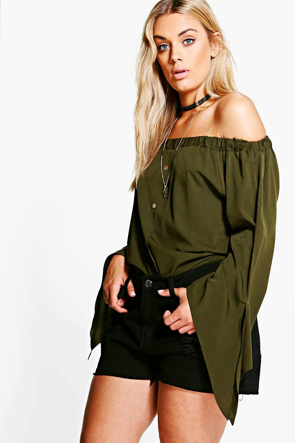 Plus Amy Button Off Shoulder Top