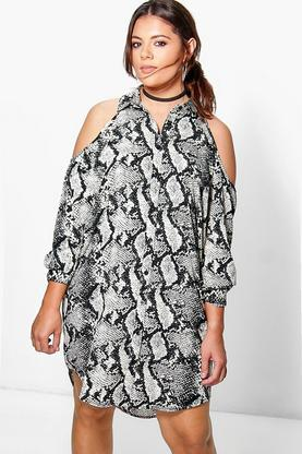 Plus Dana Cold Shoulder Snake Print Shirt