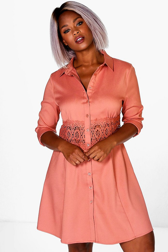 Plus Yvonne Lace Crochet Waist Shirt Dress