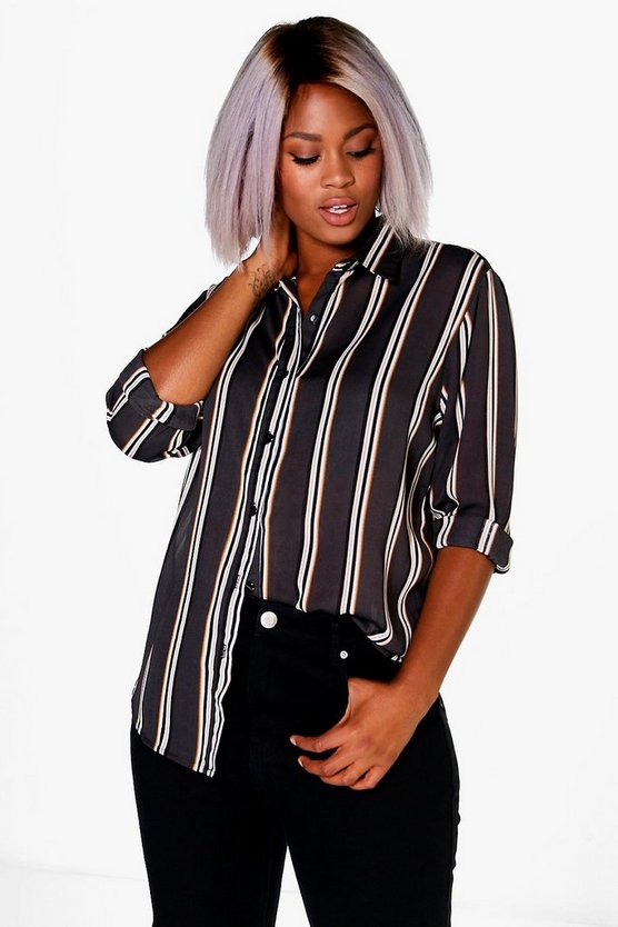 Plus Paige Striped Oversized Shirt
