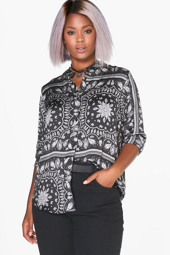 Plus Hannah Silky Paisley Collarless Shirt