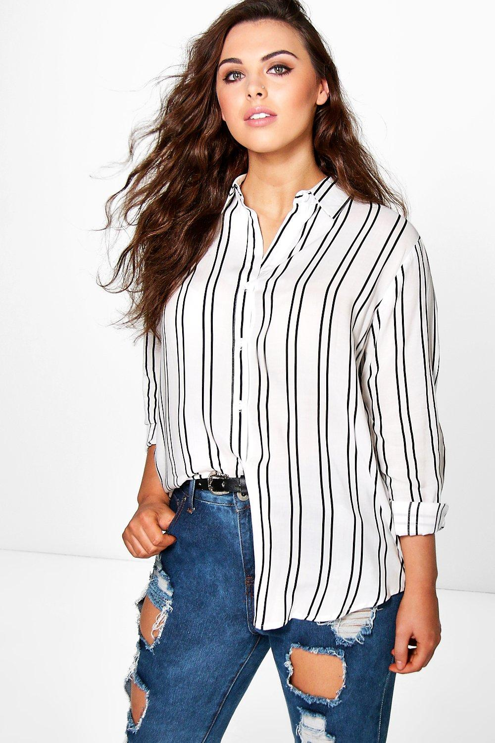 Plus Annie Striped Oversized Shirt