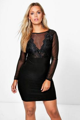 Plus Tina mesh Lace Panel Mini Dress