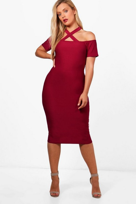 Plus Jenna Strappy Neck Midi Bodycon Dress