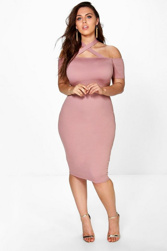 Plus Strappy Neck Midi Bodycon Dress