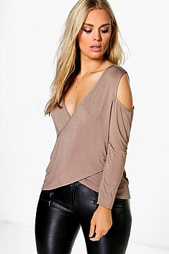 Plus Evie Wrap Cut Out Shoulder Top