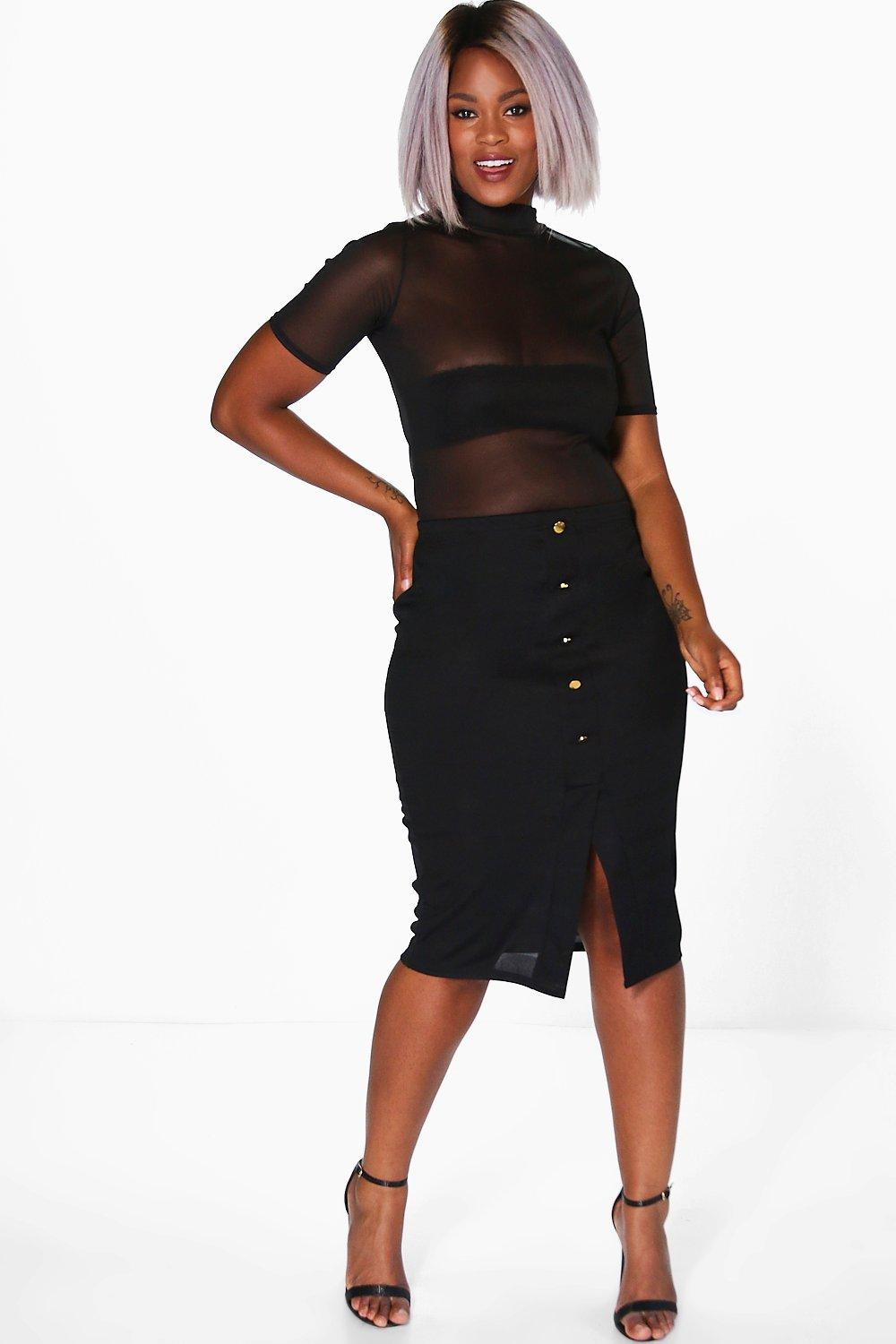Sophie Button Front Midi Skirt black