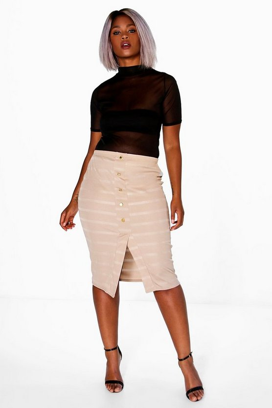 Plus Sophie Button Front Midi Skirt