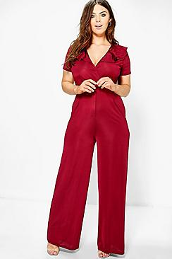 Plus Jane Frill Plunge Jumpsuit