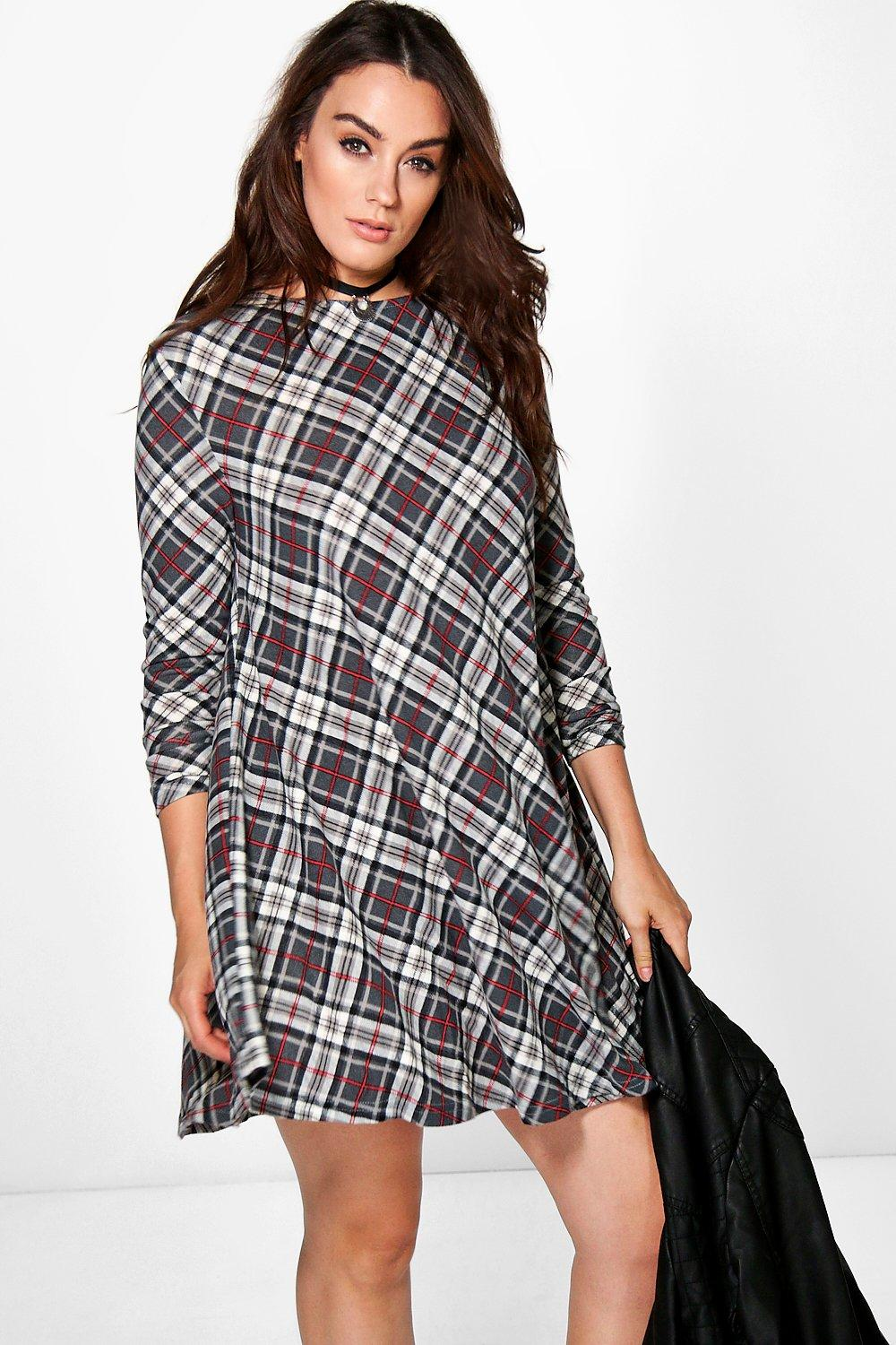 Plus Mia Checked Brushed Knit Swing Dress