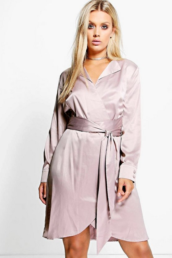 Plus Tessa Satin Wrap Shirt Dress