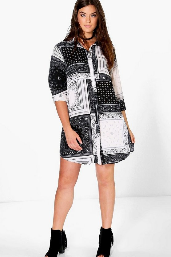 Plus Joyce Woven Printed Shirt Dress