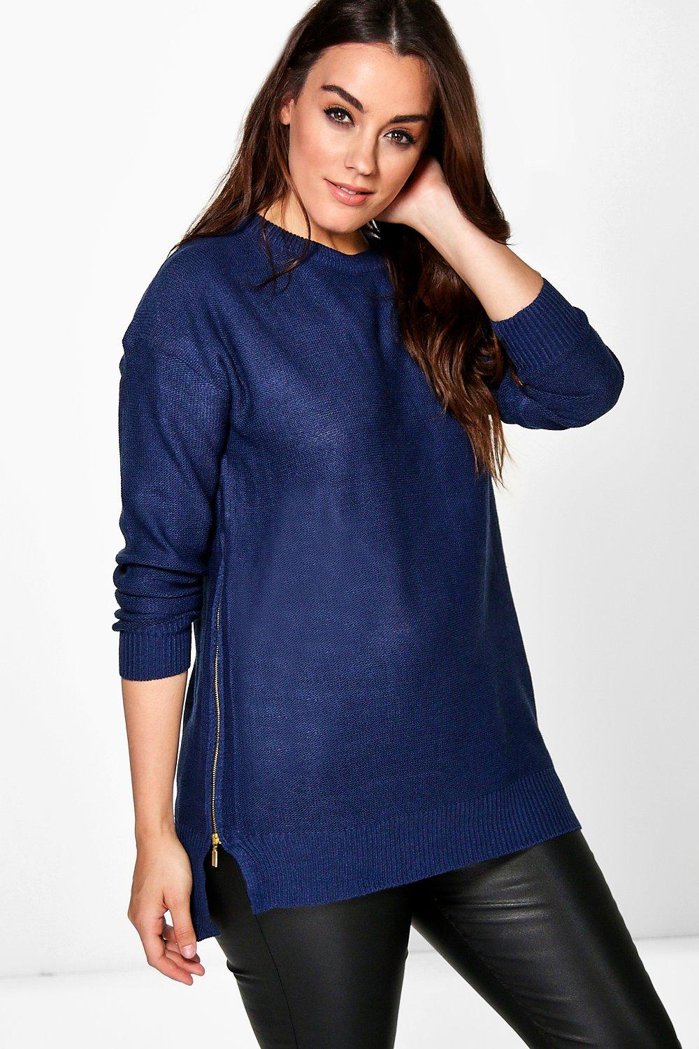 Plus Eve Zip Detail Knitted Jumper