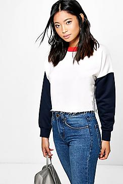 Petite Olivia Block Crop Sweat