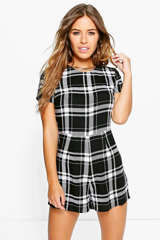 Petite Bella Cap Sleeve Checked Playsuit