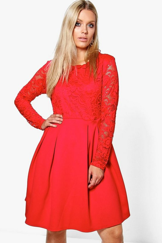 Plus Mel Lace Panel Skater Dress