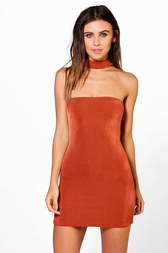 Petite Ella Choker Detail Mini Bodycon Dress