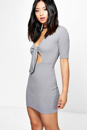 Petite Ellie Tie Front Cut Out Dress