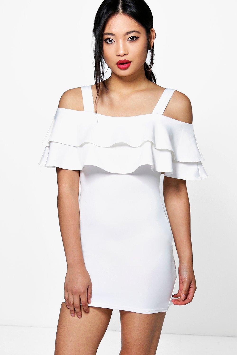 Petite Jessica Bardot Strappy Frill Dress