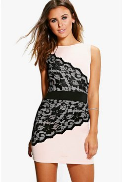 Petite Zoe Lace Panel Bodycon Dress