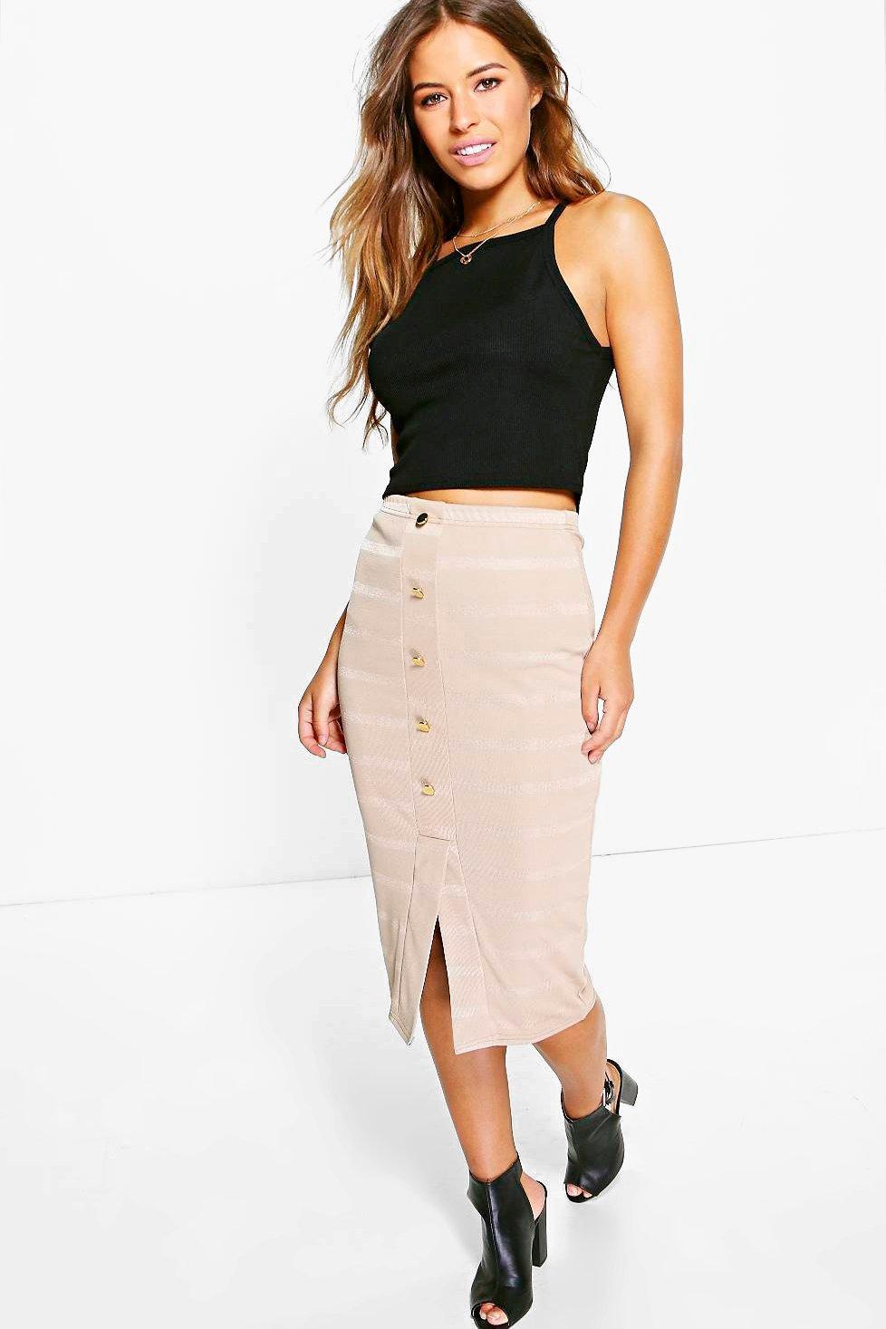Monica Button Front Midi Skirt stone