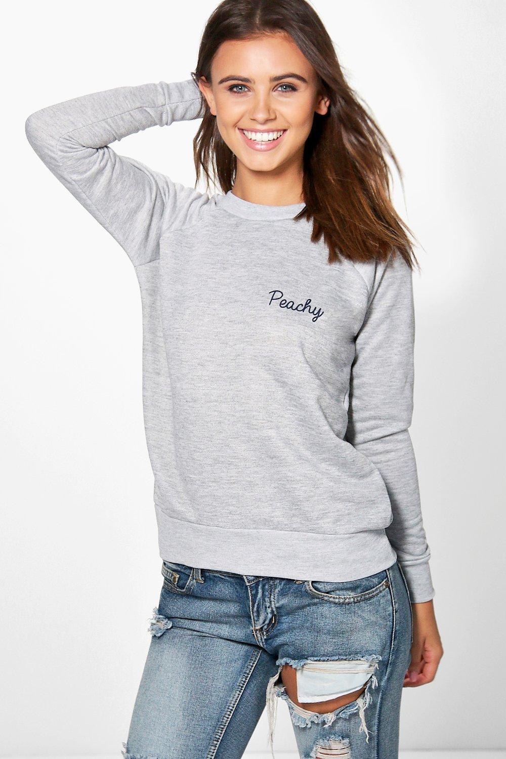 Petite Bonnie Peachy Slogan Sweat