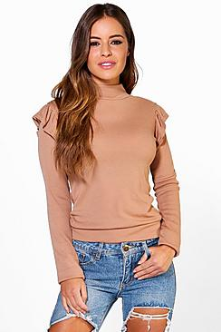 Petite Ella Frill Shoulder Knitted Jumper