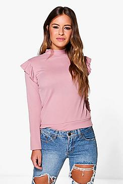 Petite Ella Frill Shoulder Top