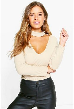 Petite Melanie Cut Out High Neck Top