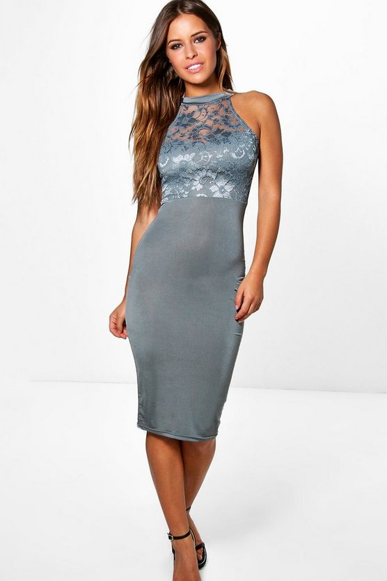 Petite Tilly Lace Panel Midi Dress
