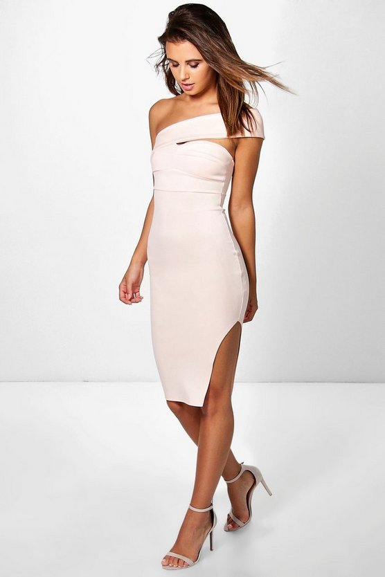 Petite Caroline One Shoulder Strap Midi Dress