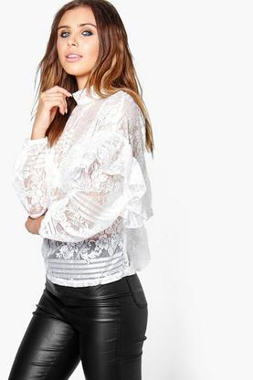 Petite Honey All Over Lace Ruffle Sleeve Blouse