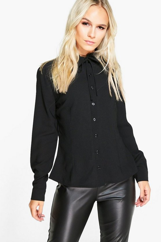 Petite Roma Tie Neck Long Sleeve Shirt