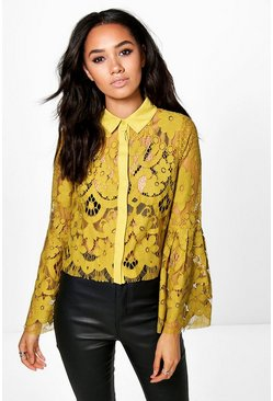 Petite Maya Lace Bell Sleeve Crop Shirt