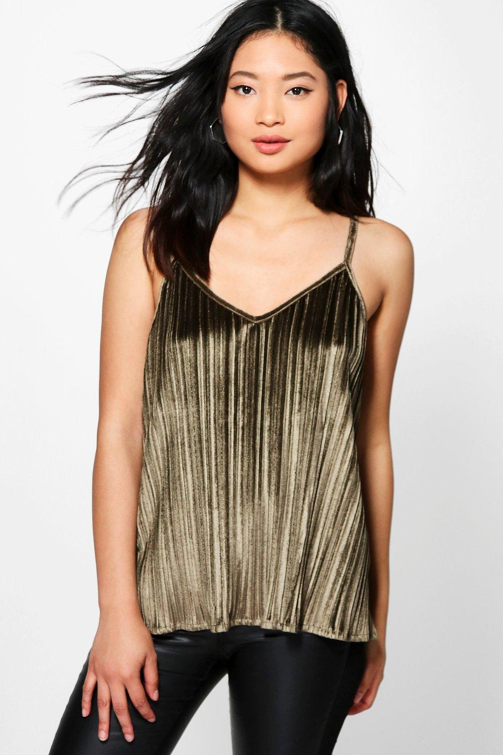 Petite Lilly Velvet Pleated Camisole