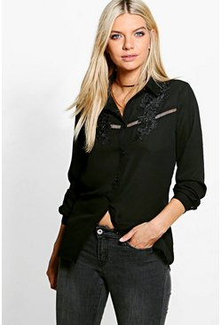 Petite Nicky Embroidered Ladder Trim Shirt