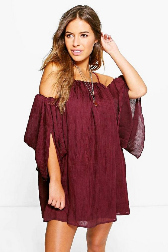 Petite Eli Angel Sleeve Pleated Crinkle Swing Dress