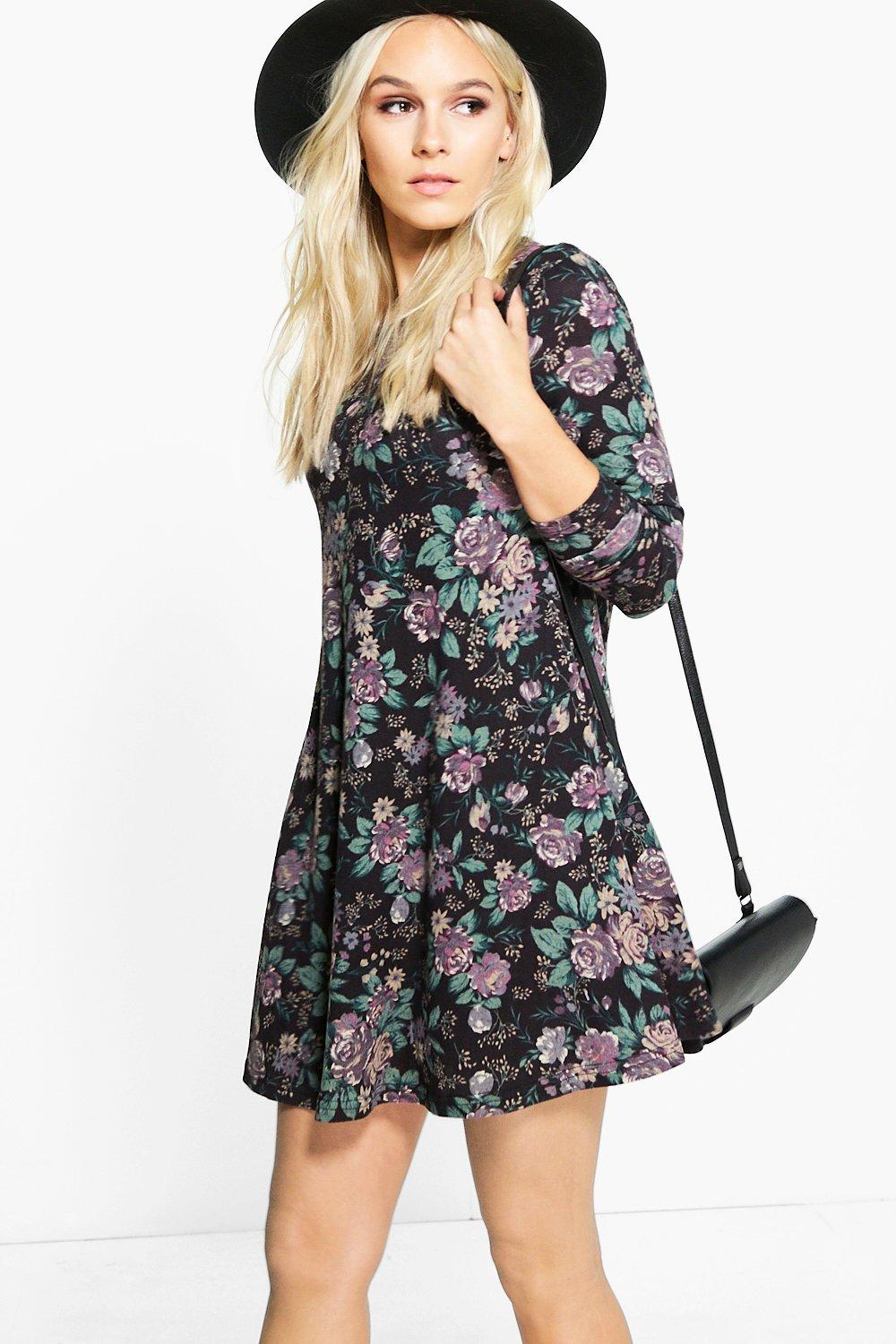 Petite Phillis Floral Brushed Knit Swing Dress