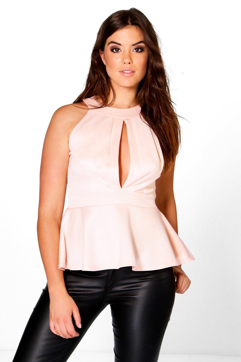 Plus Lena Plunge Peplum Top