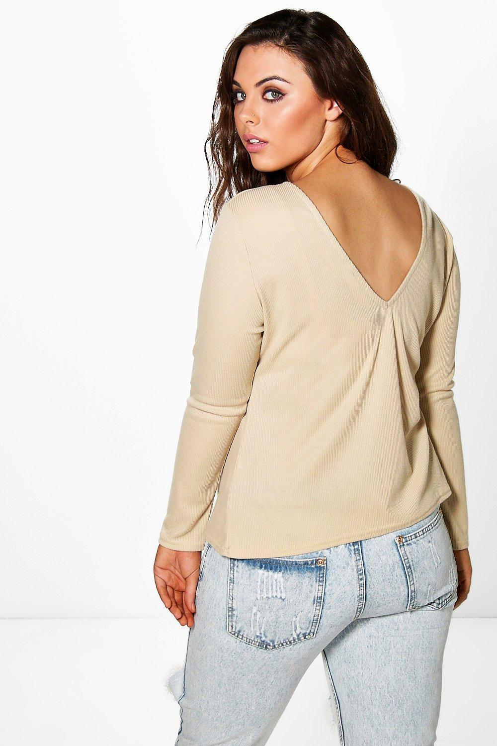 Plus Flori V Back Knitted Top