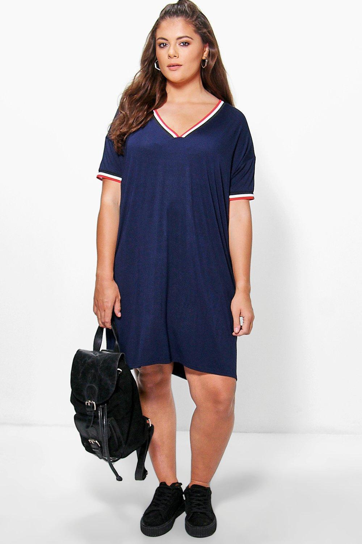 1960s Plus Size Dresses & Retro Mod Fashion Plus Laura V Neck Rib Detail Shift Dress navy $19.00 AT vintagedancer.com