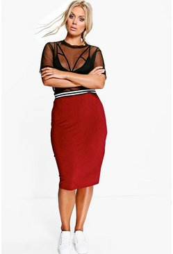 Plus Jessie Rib Detail Midi Skirt