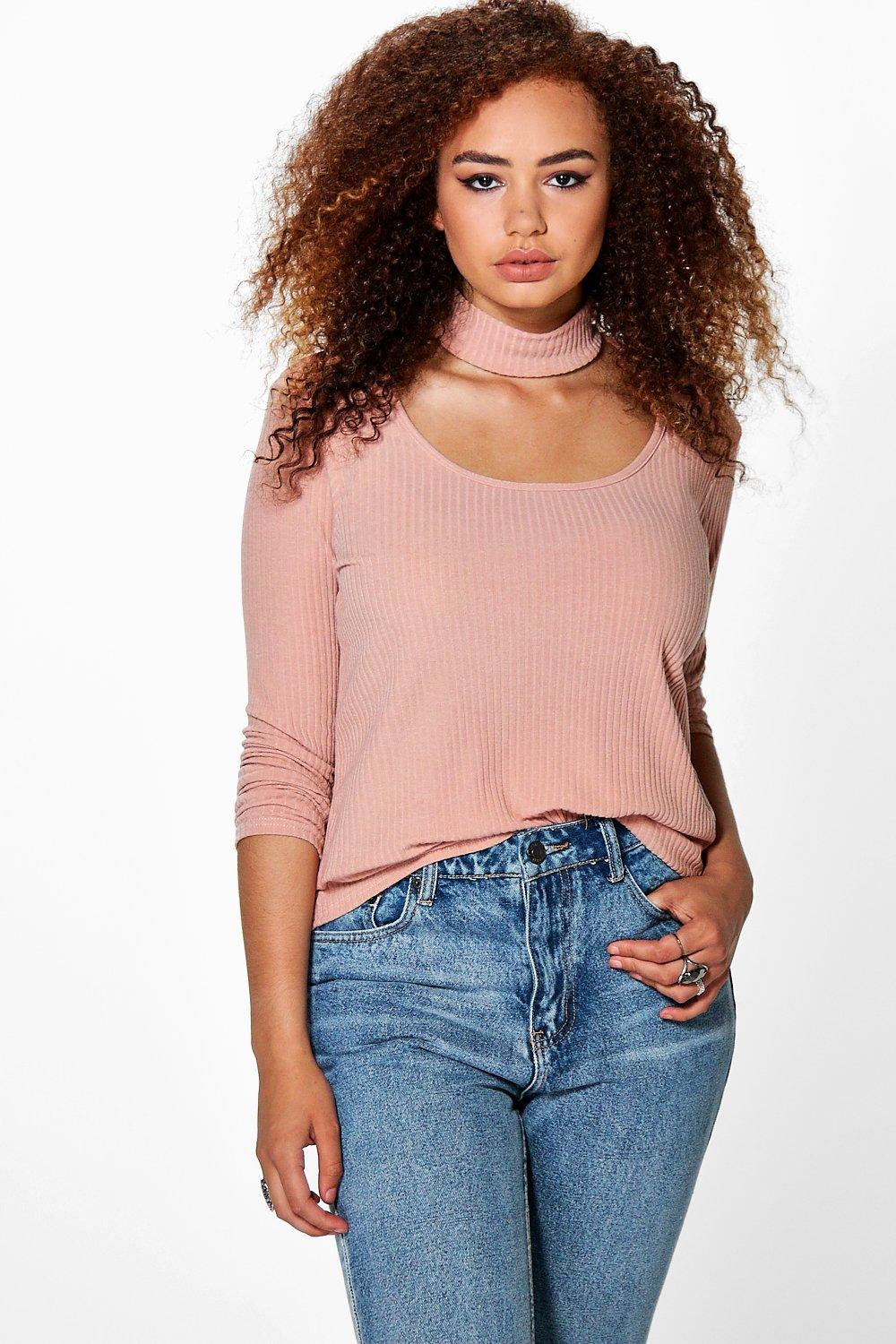 Plus Addy Choker Neck Detail Rib Top